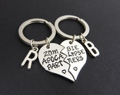 Zombie Apocalypse Partners Best Friend Keychains - Personalized Initials, Customized friendship, couples keychain