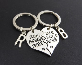 Zombie Apocalypse Partners Best Friend Keychains - Personalized Initials, Customized friendship, couples keychain