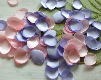 Satin leaf appliques, rose petals, fabric embellishments, fabric petals, wedding petals, silk petals bulk (50pcs)- LAVENDER and BABY PINK