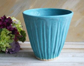 Rustic Flower Vase in Matte Turquoise Glaze Handcrafted and Hand Carved Stoneware Pottery Made in USA Ready to Ship