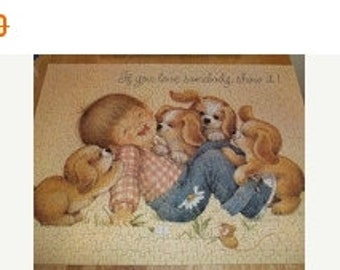 SWEETHEART SALE Vintage Springbok Jigsaw Puzzle Playful Puppies 1980 Complete