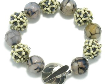 Gray and Ivory, Beaded Bracelet, Gift, Chunky Bracelet, Handmade Bracelet, Fashion Jewelry