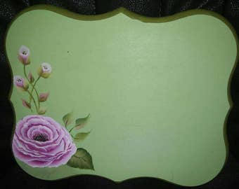Custom House Number Plaque Sign, Hand painted Vintage Style Pink Rose Rosebuds