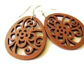 Chestnut Brown Wooden Flower Dangle Earrings