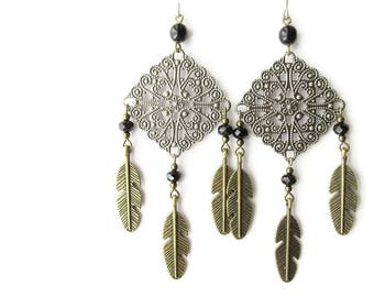 Antique Silver Filigree and Bronze Feather Boho Chandelier Earrings