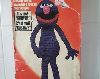 Vintage RARE 1979 Muppet Inc Sesame Street GROVER Crochet Doll Kit Retro
