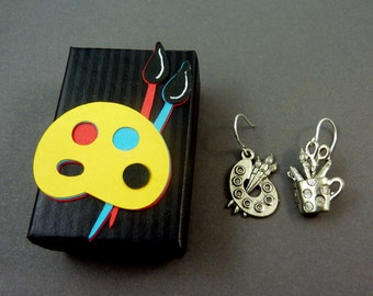 Artists or Painter  Earrings.  Dangle Earrings.  STERLING SILVER Ear Wires.  Artist Palette and Paint Brushes.  Comes in Decorated Gift Box.