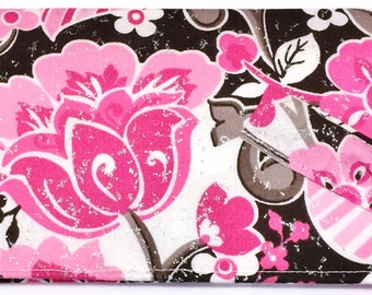 Glitter Pink Brown Flowers Floral - Check Book Cover, Pen Holder, CheckBook Case, Check Book, Register Holder