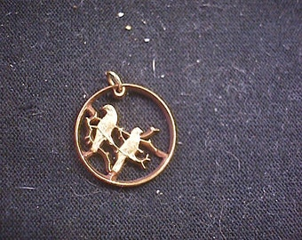 2 LOVESBIRDS on Branch Cut Coin Necklace  South Africa 1 Cent
