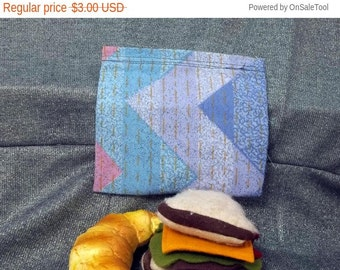 Sale 15% off Reusable Sandwich Bag, Blue and Pink Chevron Print