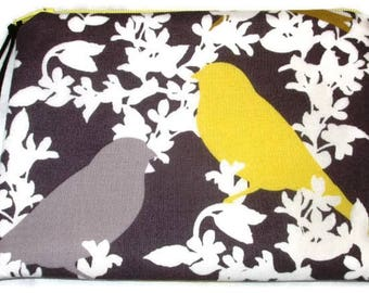 Padded Zipper Cosmetic Pouch in Seedling Goldfinch Garden Print