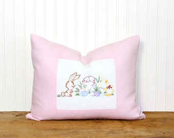 Easter Pillow - Embroidered Linen - Vintage - Bunny Pillow - Spring - Shabby Chic - Cottage Decor - Pink Pillow - 14x18 - SWEET!
