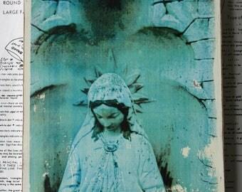Virgin Mary, Madonna, Statue, 6 x 8, Original, Art, Mixed Media, Miniature, Photography, Upcycled, Wood, Blue, Peach