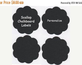 SALE- Chalk Labels(tm) Small Scalloped Edge Chalkboard Labels - 9 - 3.5 inches