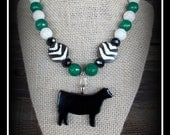Black Glass Show Heifer, Cattle Pendant With Gemstone Beaded Necklace Approx 18""