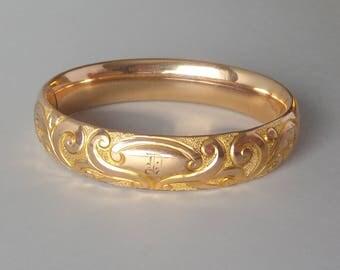 Antique Victorian Bangle Rose Gold Fill Bracelet.