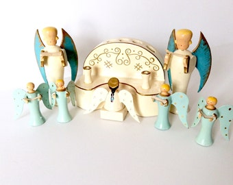 Vintage Christmas Angels Choir and Organ Candle Holder Wood