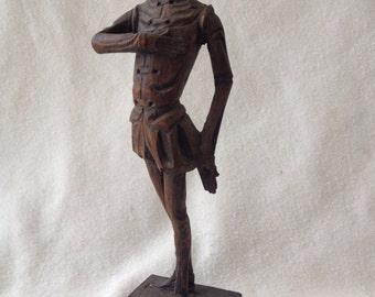 Mid Century Spanish Ouro Artesania 289 Wood Handcarved Gentleman Vintage Sculpture