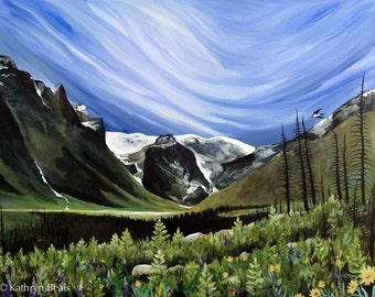Montana Painting - Beartooth Mountains Original Painting in Acrylic on Canvas