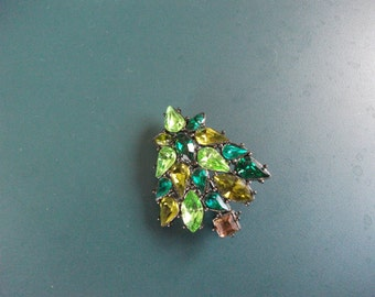 Vintage Multi Colored Green Glass Christmas Tree brooch Pin
