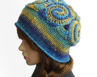 Freeform Crochet Beanie Hat Beret OOAK Freeform Crochet in Blue & Yellow Rainbow colours