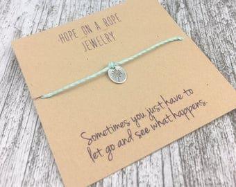 Dandelion Bracelet- Let Go Bracelet - Letting Go - Sterling Silver Dandelion Bracelet - Cord Bracelet - Bracelet Card - Nature Bracelet
