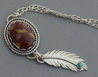 Sterling silver jasper necklace genuine turquoise feather necklace natural stone tribal southwestern jewelry artisan handmade boho jewelry