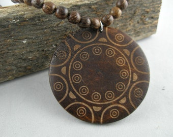 Large Pendant Wooden Necklace