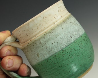 Cermaic Mug Pair of 2   in matt cream and weathered green  12-13 oz with thumb rest  Ready to Ship- In-Stock
