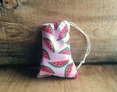 Mini Drawstring Pouch- Reusable Gift Bag - Jewelry Pouch - Gift Card Bag - Watermelon Print