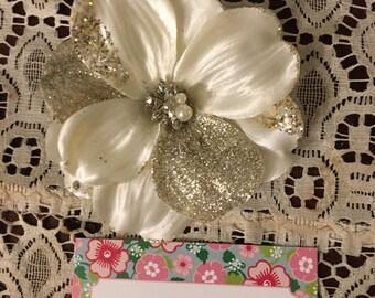 White silk gold sparkle cherry blossom hair clip