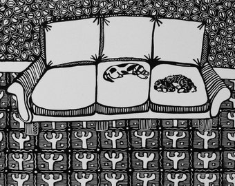 Mickey and Lou linoleum print by Coco Berkman Dogs on Sofas series