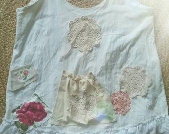 Shabby magnolia chic vintage pearl linen prairie top XL
