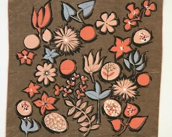 Vintage Handkerchief Flowers Mod Mid Century Pattern Jeanne Miller Designer