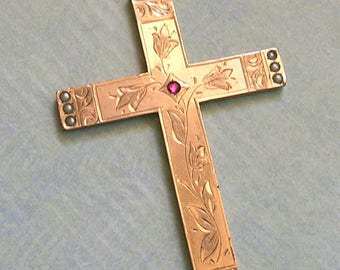 Antique Victorian Cross With Seed Pearls, Old Gold Filled Cross, Antique Cross, Old Religious Etched Cross  (#3230)