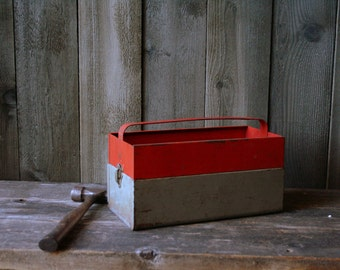Rustic Industrial Toolbox 1950s or 60s Red and Gray Vintage Primitive Design From Nowvintage on Etsy