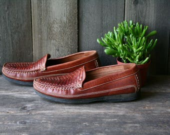 Mens Deck Shoes Leather Loafers Woven Dockers Size 11 Vintage From Nowvintage on Etsy