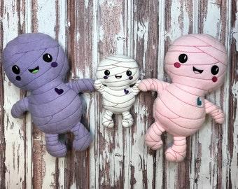 "Handmade Halloween Mummy Plush Doll 13"" Lavender or Pink or 7"" White / Softie Doll / Halloween Plush / Halloween Decor / Ready to Ship"
