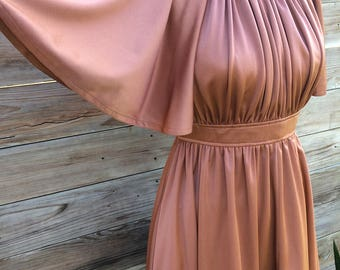 1970's dusty rose mini dress with flutter sleeves and ruched bodice SMALL/MEDIUM