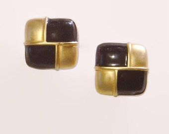 Givenchy Black and Gold tone square clip Earrings Paris New York