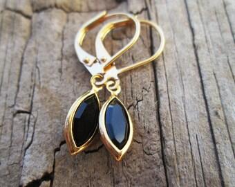 Petite Jet Black Swarovski Channel Set Crystal Gold Navette Earrings