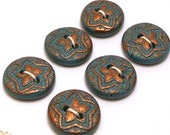 Handmade Buttons Teal and Bronze 18mm