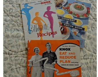 Three Vintage Knox Gelatine, Cook Books, Eat And Reduce Plan,  Gel- Cookery, Silhouette Recipes, Paper Ephemera