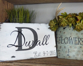 CUSTOM sign Your NAME established Date MONOGRAM painted Distressed Wood