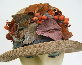 Antique Edwardian Straw Floral Leaves Women's Hat