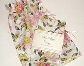 Roses, Shoe Bags, Blush Pink, Floral, Travel, Cottage Chic, Reusable bag, lingerie, cotton drawstring bags, Rose fabric, Pink Roses