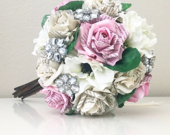 The Maia Renee Rhinestone Book Page Rose and Anemone Bouquet