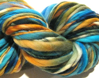 HALF OFF SALE Super Chunky Handspun Yarn Caribbean Sunset 106 yards hand dyed merino wool blue yarn  knitting supplies crochet supplies