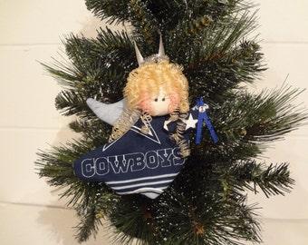 Dallas Cowboys fabric angel ornament #1