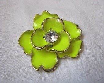 Layered bright yellow enamel flower pendant slide with gold trim and rhinestone center